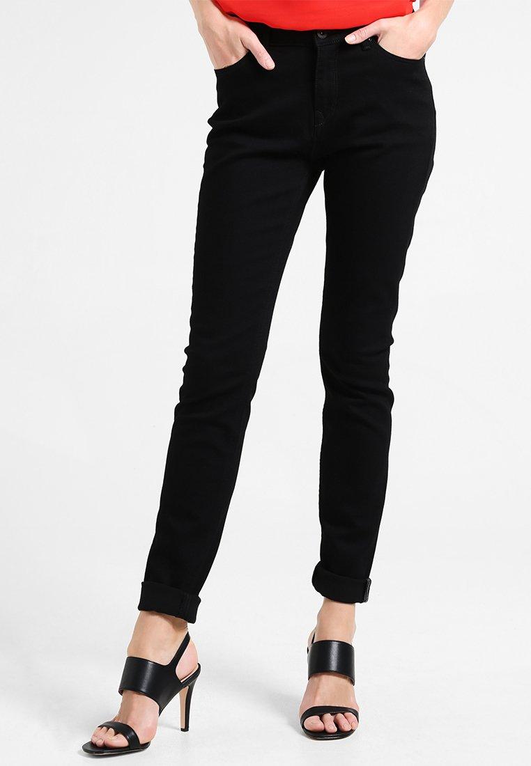edc by Esprit - HIGH SKIN - Vaqueros slim fit - black rinse