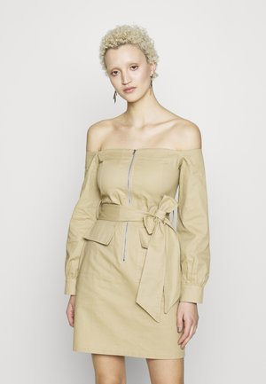 BARDOT EXPOSED ZIP BELTED MINI DRESS - Day dress - sand