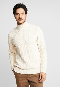 Selected Homme - SLHRYAN STRUCTURE HIGH NECK - Strickpullover - white melange - 0