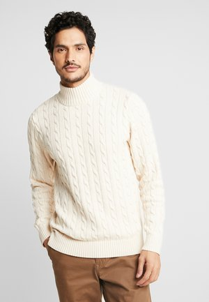 SLHRYAN STRUCTURE HIGH NECK - Strickpullover - white melange