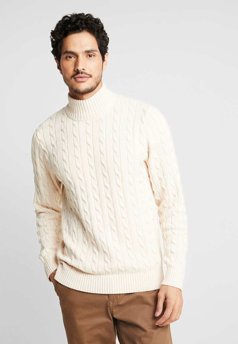 Selected Homme - SLHRYAN STRUCTURE HIGH NECK - Strickpullover - white melange