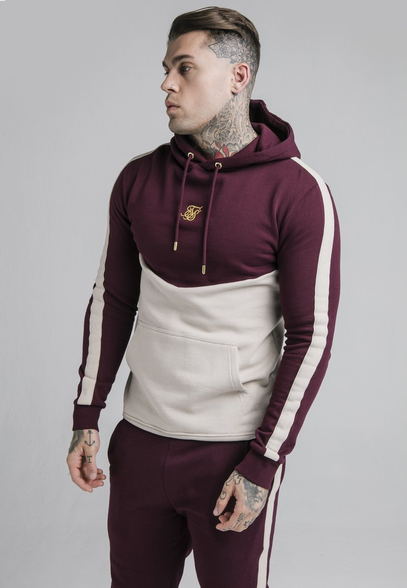 SIKSILK - CUT AND SEW OVERHEAD HOODIE - Hoodie - wine/cream