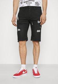 INDICODE JEANS - COMMERCIAL KEN HOLES - Denim shorts - black - 0