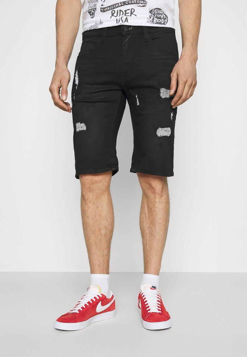 INDICODE JEANS - COMMERCIAL KEN HOLES - Denim shorts - black