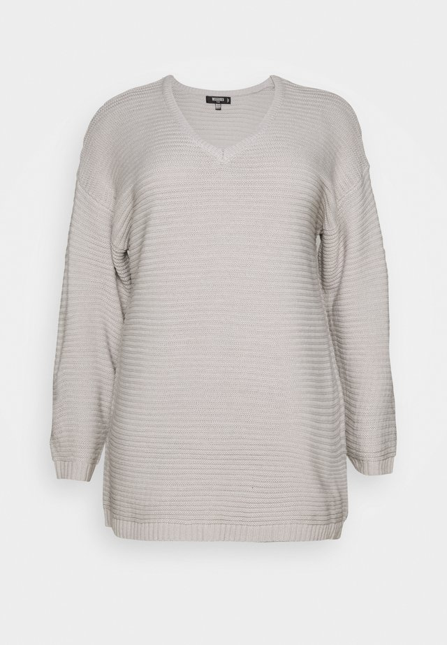 PLUS V NECK JUMPER DRESS - Abito in maglia - grey
