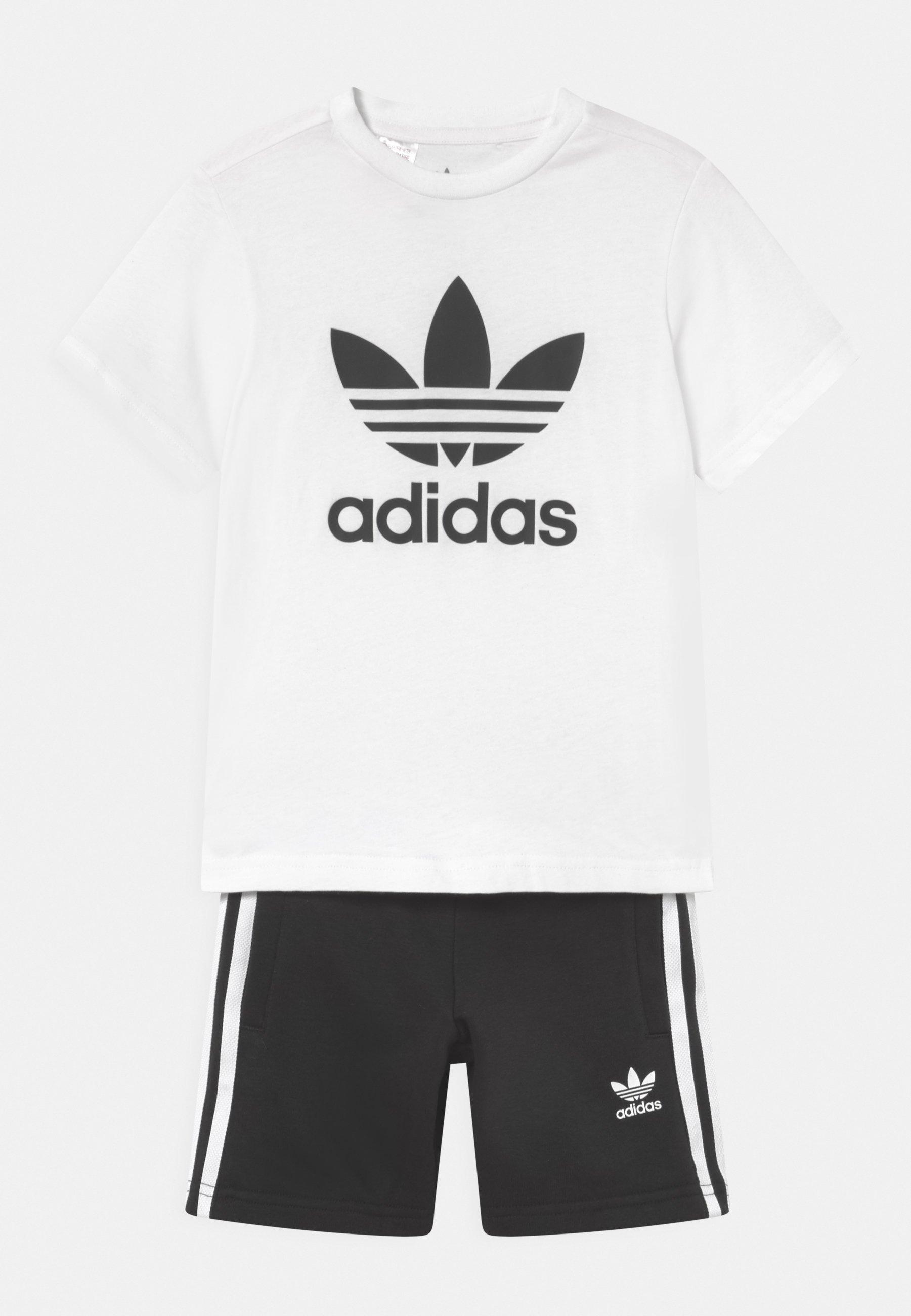 Kids SHORT TEE SET UNISEX - Tracksuit bottoms - white/black