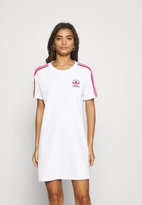 adidas Originals - STRIPES SPORTS INSPIRED REGULAR DRESS - Jersey dress - white/scarlet - 0