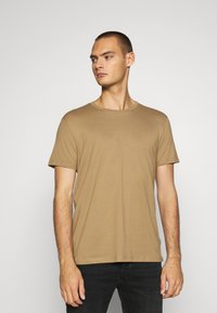 Burton Menswear London - SHORT SLEEVE CREW 3 PACK - T-shirt basic - stone/dark green/pink - 3