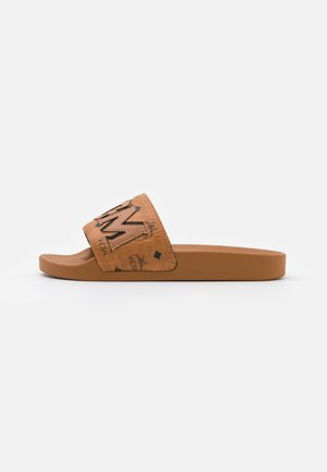 LOGO GROUP SLIDE - Mules - cognac