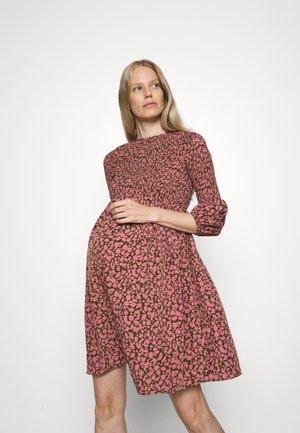 SMOCKED BUBBLE SLEEVE MINI DRESS - Jerseykjole - khaki/pink