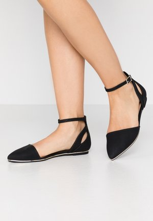 CHARLOTE - Ankle strap ballet pumps - black