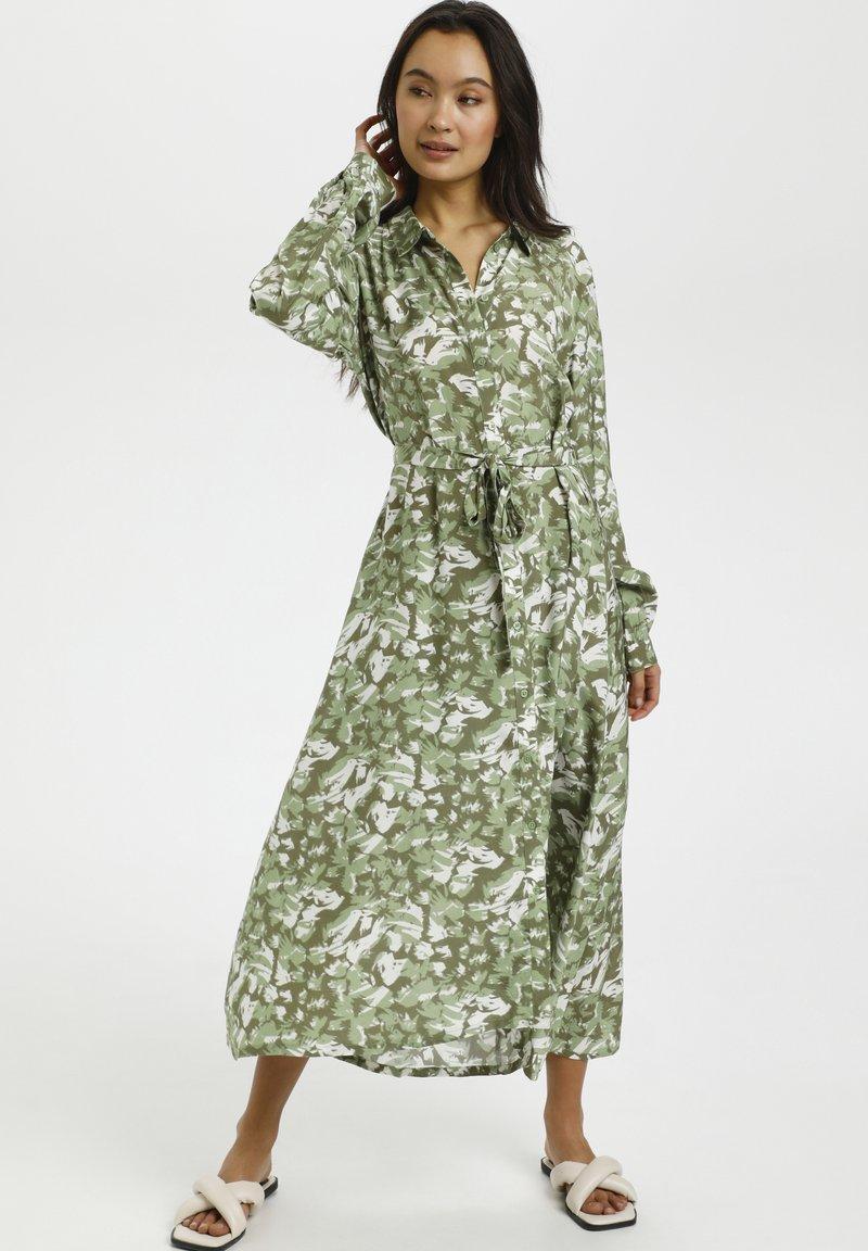 Kaffe - Shirt dress - green graphic camou