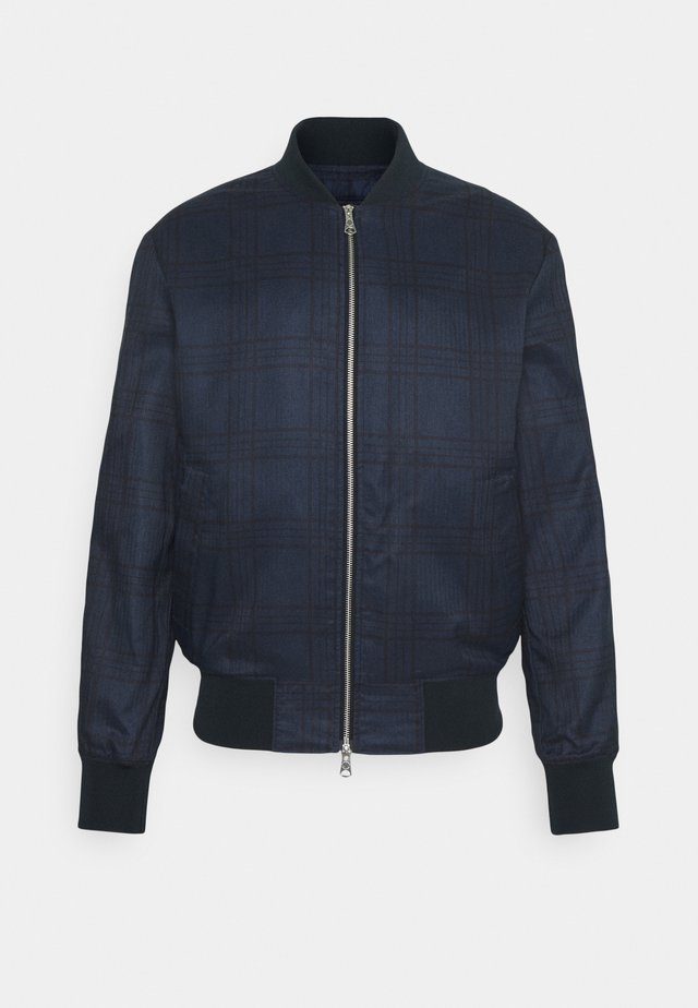 CHECK JACKET - Bomber Jacket - navy