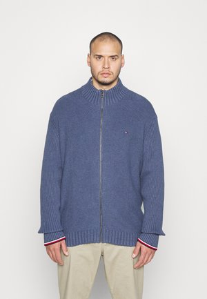 BOLD STRUCTURE ZIP THROUGH - Cardigan - blue