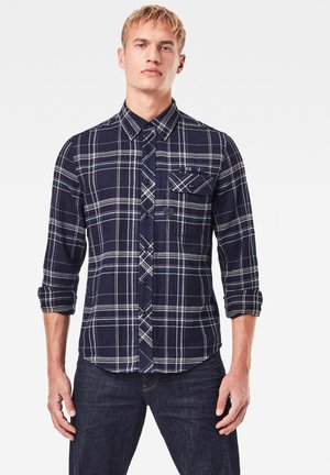 BRISTUM FLAP BUTTON DOWN SLIM LONG SLEEVE - Skjorta - rinsed yoko check