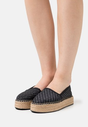 ESPADRILLE WEDGE AOP CO - Espadrilles - black