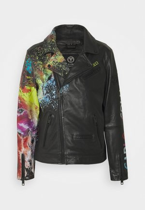 JACKET WITH PRINT PERFECTO - Giacca di pelle - black