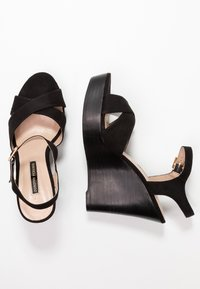 Dorothy Perkins - RADICAL STACKED 70S WEDGE - High heeled sandals - black - 3