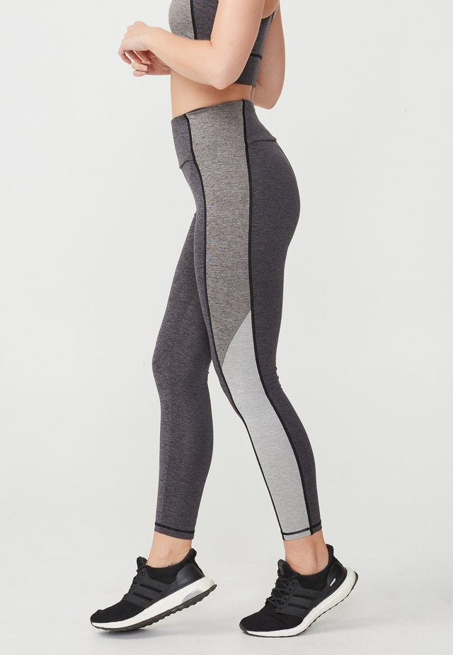 BLOCKED MELANGE T - Leggings - grey melange