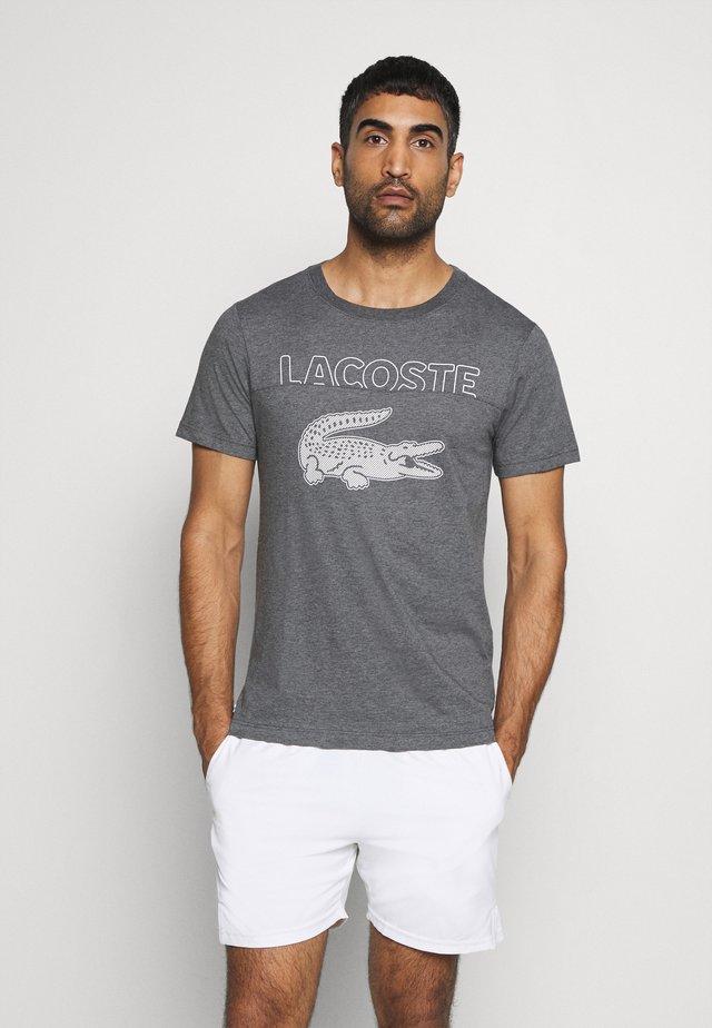 LOGO SLOGAN - T-shirt z nadrukiem - gris chine/blanc