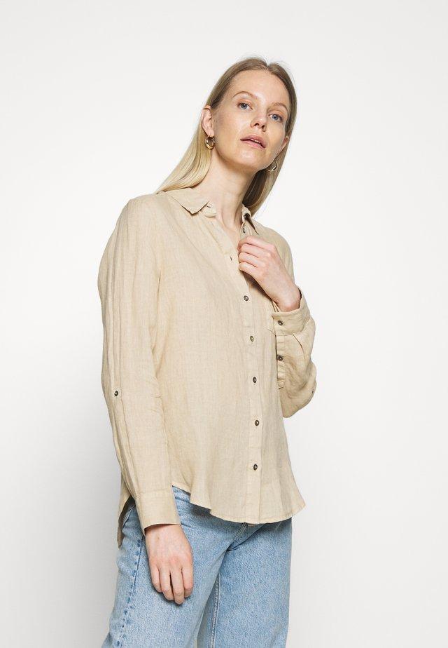LANGARM - Button-down blouse - brown