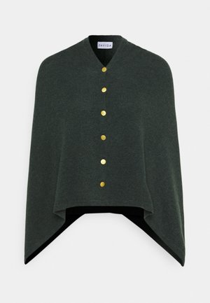 PONCHO WITH BUTTONS - Cape - dark green