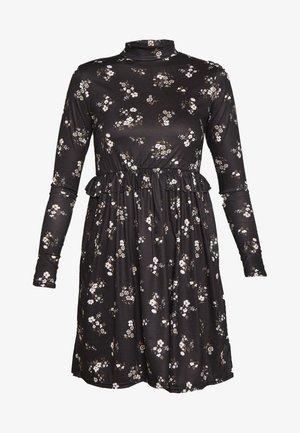 FLORAL FRILL WAIST DRESS - Robe d'été - black