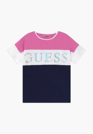 JUNIOR  - T-shirt print - thick blue thin fuch