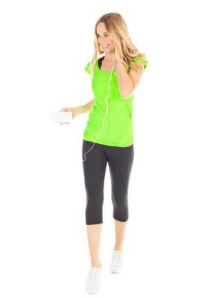 HWL203 SCHWARZ HIGH WAIST- 3/4 SPORTHOSE - 3/4 sports trousers - black