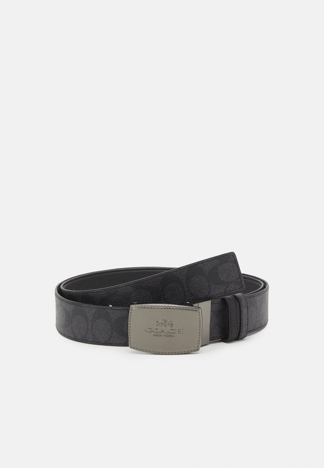 STITCHED PLAQUE SIGNATURE BELT UNISEX - Pásek - charcoal/black