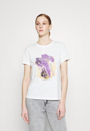 VMANAIS - T-shirts med print - snow white/viola marble