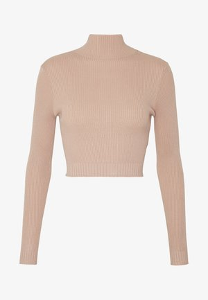 BASIC HIGH NECK DETAIL KNITTED CROP - Svetr - sand