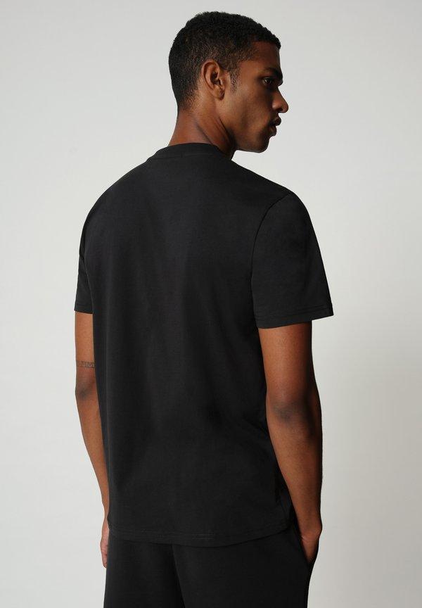 Napapijri T-shirt z nadrukiem - black/czarny Odzież Męska WWWD
