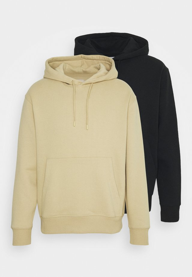 HOOD UNISEX 2 PACK - Sweatshirt - black/beige