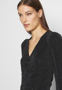 Dorothy Perkins - LUREX RUCHED FRONT - Long sleeved top - black - 3