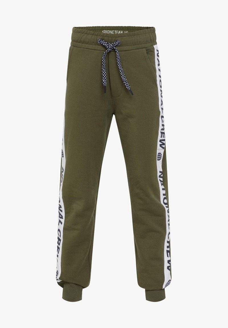 WE Fashion - MET TAPEDETAIL - Træningsbukser - army green