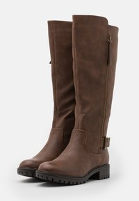 Dorothy Perkins - KAPTAIN ZIP CLEATED LONG BOOT - Vysoká obuv - choc - 2