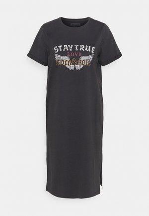 NMHAZEL T-SHIRT DRESS - Jersey dress - obsidian