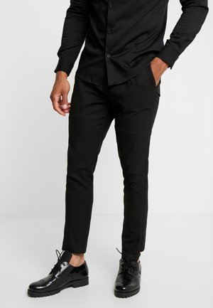 SIDE PIPED TROUSER - Pantalon classique - black