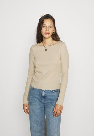 CREW NECK LONG SLEEVE - Long sleeved top - linen taupe
