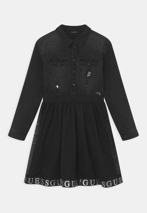 JUNIOR MIXED FABRIC DRESS - Spijkerjurk - black
