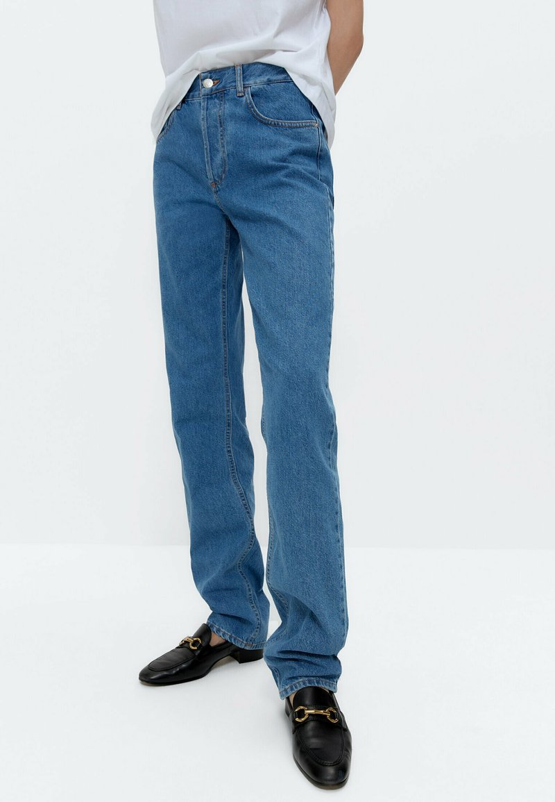 Uterqüe - Straight leg jeans - blue denim
