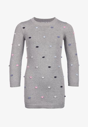 STRICK MIT PUNKTEN - Jumper dress - grey melange