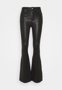 Frame Denim - HIGH FLARE - Leather trousers - noir - 0