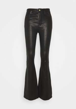 HIGH FLARE - Leather trousers - noir