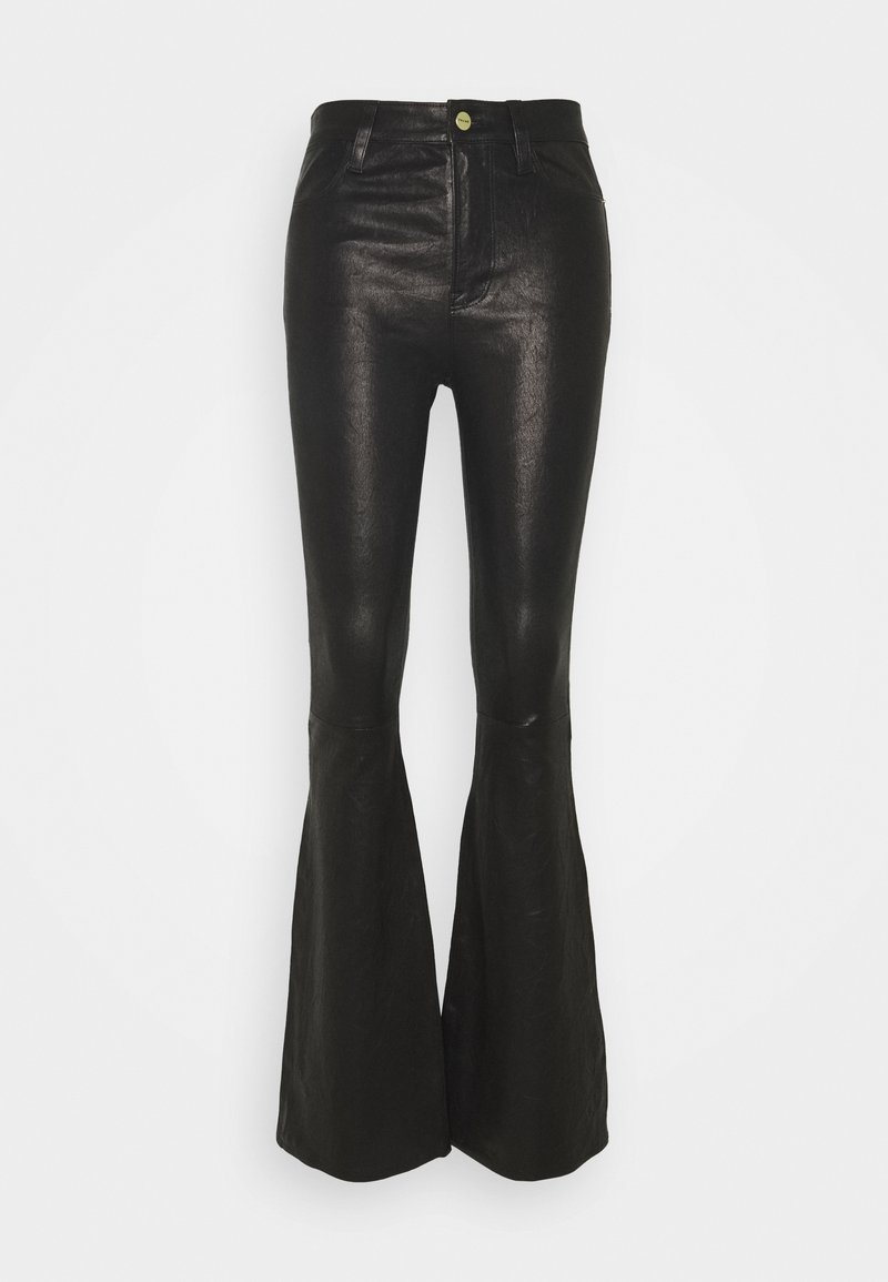 Frame Denim - HIGH FLARE - Leather trousers - noir