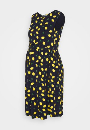 NURSING Jersey dress - Jerseykjoler - dark blue/yellow