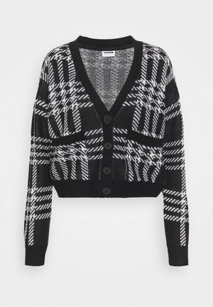NMSQUARE OPEN CARDIGAN - Cardigan - black/bright white