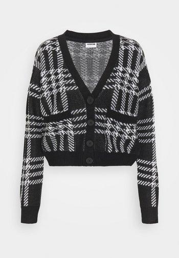 NMSQUARE OPEN CARDIGAN - Vest - black/bright white