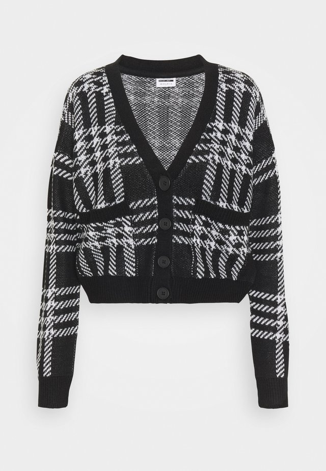 NMSQUARE OPEN CARDIGAN - Strickjacke - black/bright white
